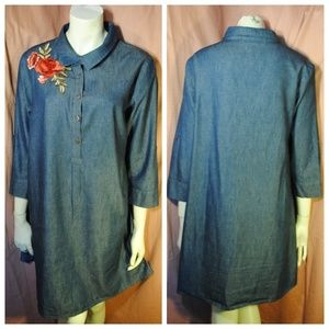Dresses & Skirts - Embroidered Rose Denim Jean Chambray Tunic Dress